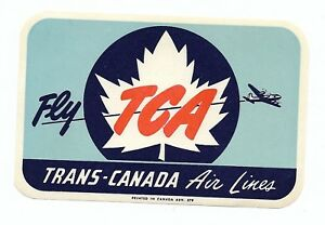 Authentic Vintage Luggage Label ~ TRANS-CANADA AIR LINES