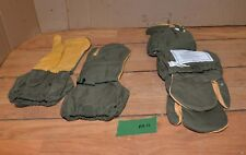 3 pair US Army leather nylon mitten shell M Medium trigger finger hunting NOS