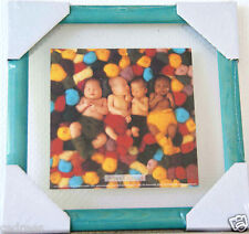 tableau cadre ANNE GEDDES photo 4 bébé pelote laine 23cms vitre verre decoration