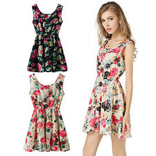 Summer Womens Sleeveless Sundress Chiffon Beach Floral Tank Mini Dress Size 8-18