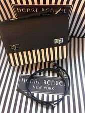 Henri Bendel Centennial Stripe Purse Schoolbag Brown Cream