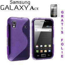 Gel Silikon Schutz hülle / Tasche /Etui f Samsung S5830 Galaxy Ace LILA Folie