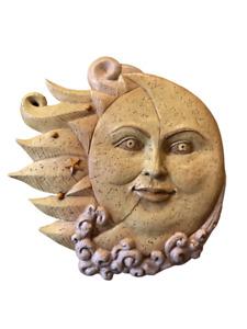 "Sun Moon Wall Plaque New Creative Enterprises Resin 11"" Hanging Celestial Decor"