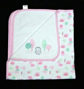 Gymboree Owl Pink Baby Blanket Pastel Green Tree Pattern Cotton Receiving 2017
