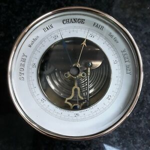 Antique Aneroid Holosteric Barometer brass case copper surround bevelled glass