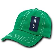 Kelly Green & White Washed Cotton Polo Blank Plain Solid Decky Baseball Cap Hat