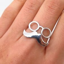 925 Sterling Silver Glasses & Moustache Design Ring Size 6 1/4