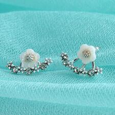 Women Jewelry Elegant Crystal Rhinestone Ear Jacket Stud Daisy Flower Earrings