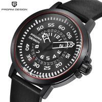 PAGANI DESIGN Date 30M Water Resistant 316L Leather Band Mens Quartz Wrist Watch