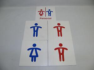 5 Kunststoffschilder Wc Toilets Men's Ladies 5 7/8x5 7/8in