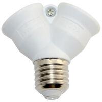 E27 to 2 x E27 LED Lamp Light Socket Holder Y Splitter Screw Bulb Base Adaptor