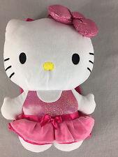 "Hello Kitty Backpack Plush 15"" Pink Dress Sanrio Stuffed Animal"