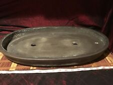 "Vintage Asian Pottery Unglazed Large Bonsai Under Plate 21 5/8""x16 1/8"" Marked"