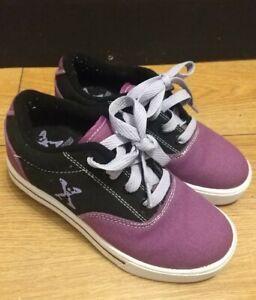 Sidewalk Sports Heelys Size 13 Black Purple Girls Worn Once