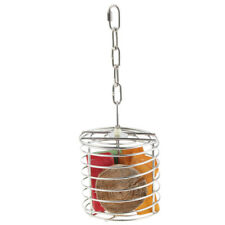 New listing Parrot Bird Stainless Steel Cage Feeder Hang Foraging Toy Pet Treat