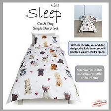 New Girls Dogs Cats & Hearts Single Duvet Cover Set Dachshund Pug French Bulldog