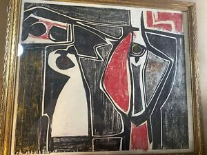 """Abraham Hankins (1904 -1963) """"An Abstract Scene"""" Woodblock - Signed"""