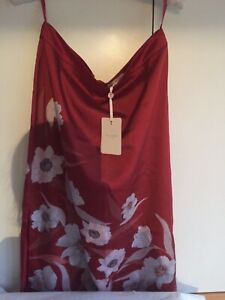 Ted Baker Cabana Printed Slip Skirt DK Brown Size 4/14 RRP £99 New With Tag