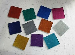 Set of 2, 4 or 6 Glittered Glass Drinks Coasters, Many Glitter Colours Available