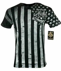 ARCHAIC by AFFLICTION Men's T-Shirt NATION Skull Wings US Flag Black S-4XL $40