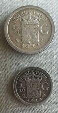 DEUX MONNAIES EN ARGENT 1/10 ET 1/4 DE GULDEN NEDERL. INDIE WILHELMINA 1912