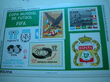 Fußball Weltmeisterschaft 1978  Borek ABO: Block BOLIVIEN aufdrucke marke FIFA