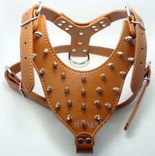 Leather Spiked Studded Dog Harness Large Dog Pit bull Terrier Mastiff 10 Colors
