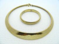 VTG PARK LANE Gold Tone 1980's Omega Necklace Choker & Bracelet Set