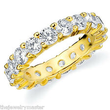 DIAMOND ETERNITY BAND WEDDING RING ROUND SHARED PRONG 14K YELLOW GOLD 4 CARATS