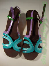 Gap Girls Wedge Sandals Blue Purple Green Patent Leather Straw Fabric Buckle 3