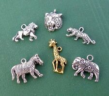 6 Safari Zoo Lion Wildlife Silver Gold Charms Tiger Elephant Giraffe Animals Lot
