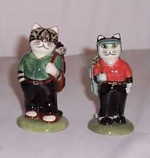 QUAIL Golfing Couple Cats Salt & Pepper Cruet Set