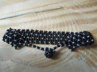 """BRACELET- Boho Handmade Black & White Seed Bead 7"""" Bracelet"""