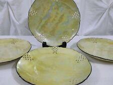 Set of 4 VTG Schumann Dresden Bavaria Dessert Plates Reticulated Opalescent Gold