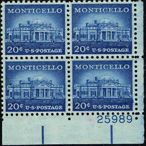 #1047 PB 1956 20c MONTICELLO LIBERTY SERIES ISSUE  MINT-OG/NH