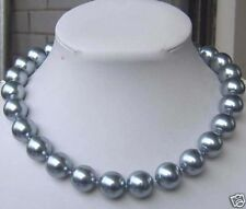 """Shell Pearl Necklace 18""""Aaa 8mm Silver Gray Sea"""