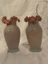 Pair Bristol Glass Vases Antique Victorian Pink Ruffled Satin