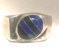 Vintage Sterling Silver Onyx Azurite Ring Size 13 14.3g Mexico Men