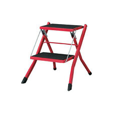 Step Stool Folding 2steps Red Compact Ladder Home Kitchen Office Garden PC-334RD