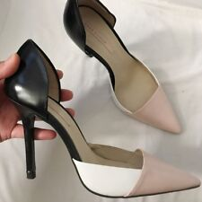 Zara Pointy Toe Blush Pink Black Geometric Three Tone Stiletto High Heels Shoes