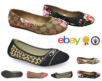 Womens Ballerina Ballet Dolly Pumps Ladies Flat Summer Cheetah Shoes Size Floral