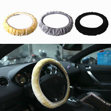 Faux Sheepskin Plush Stretch On Vehicle Car Steering Wheel Cover Black New 1pc