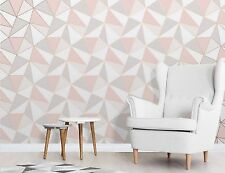 Finedecor Apex Wallpaper geometrictriangle moderno Patrón Rosa/Oro Rosa FD41993