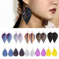 Women Bling Leaf Teardrop PU Leather Earrings Ear Stud Hook Drop Dangle Jewelry