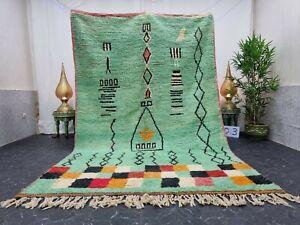 "Moroccan Boujaad Handmade Rug 6'2""x10' Berber Patchwork Green Black Wool Carpet"