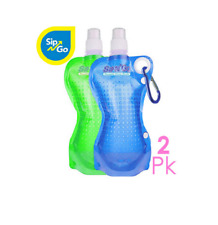 NEW Sip N Go Reusable Foldable Water Bottles 2 Pack 17 oz blue & green BPA free