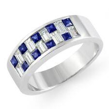 1.2Ct Sapphire Baguette Diamond Vs1 Wedding Certified Band Ring Platinum 6mm Sz9