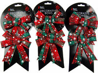 Set Of 6 Red Tartan / Snowflake Christmas Tree Bow Decorations