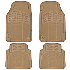 All Season Rubber Floor Mats for Car SUV Van Heavy Duty 4 PC Set Beige Trimmable