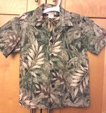 Bishop St. Boy's Green & Brown Bamboo Palm Tree Hawaiian Cotton Surf Shirt 5 S